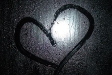 Heart outline on a window